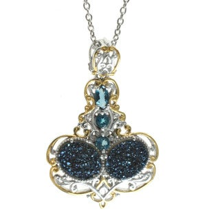 Michael Valitutti 'Cobalt Blue' Druzy And London Blue Topaz Pendant