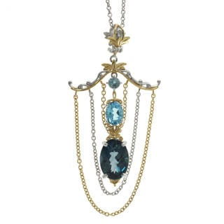 Michael Valitutti Palladium Silver Swiss and London Blue Topaz Pendant