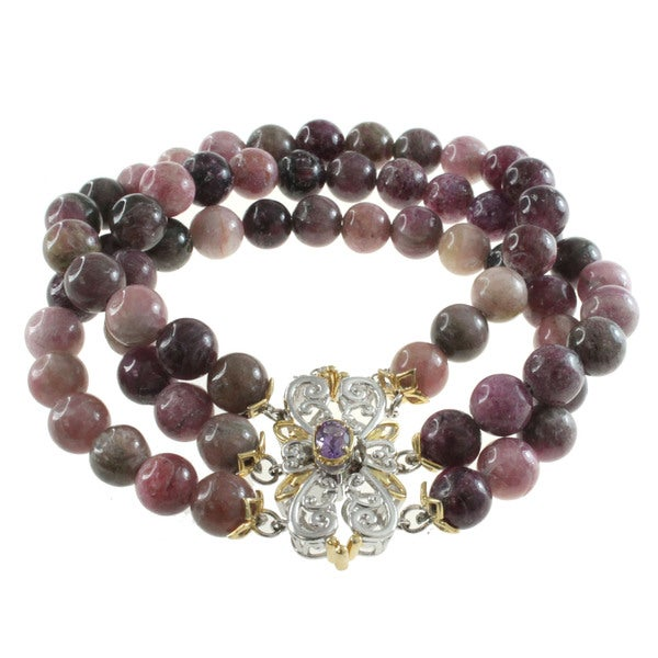 Michael valitutti two tone silver hematite and blue sapphire bracelet - Michael Valitutti Pink Tormaline Strand Bracelet Free