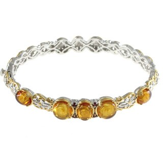 Michael Valitutti Rose Carved Yellow Amber With Orange Sapphire