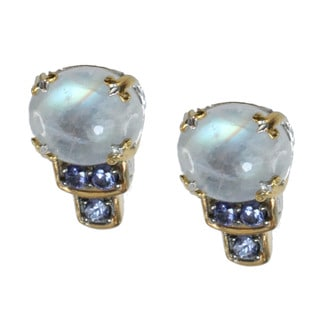 Michael Valitutti Rainbow Moonstone and Tanzanite Stud Earrings