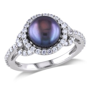Miadora Sterling Silver Cultured Black Pearl and Cubic Zirconia Ring (8.5-9 mm)