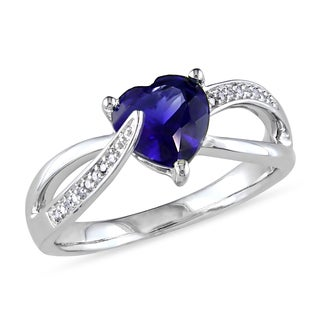 Miadora Sterling Silver Created Blue Sapphire and Diamond Accent Heart Split Shank Ring (G-H, I2-I3)