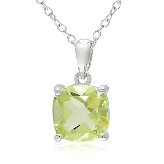Miadora Sterling Silver Lemon Quartz Solitaire Necklace