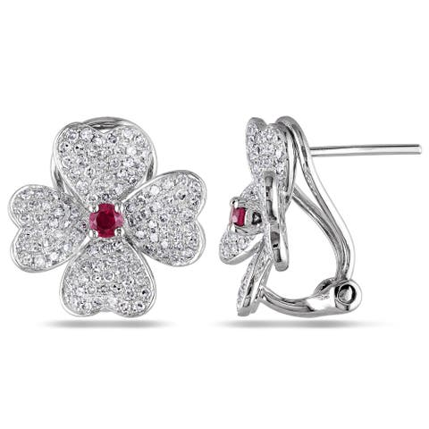 Miadora Signature Collection 14k White Gold Ruby and 1ct TDW Diamond Earrings (G-H, SI1-SI2)