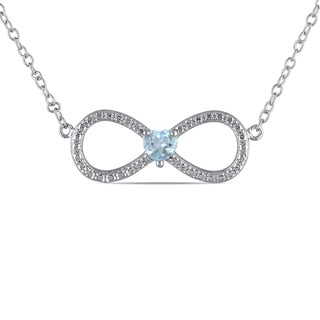Miadora Sterling Silver Blue Topaz Heart Infinity Necklace