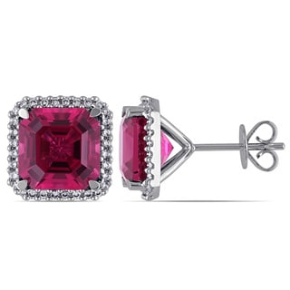 Miadora Signature Collection 14k White Gold Pink Tourmaline and 1/3ct TDW Diamond Earrings (G-H, SI1-SI2)
