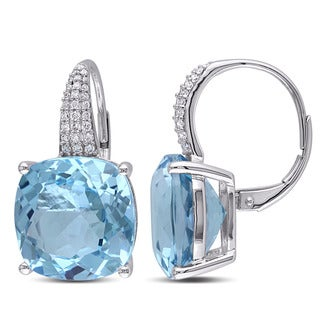Miadora Signature Collection 14k White Gold Blue Topaz and 1/4ct TDW Diamond Earrings (G-H, SI1-SI2)