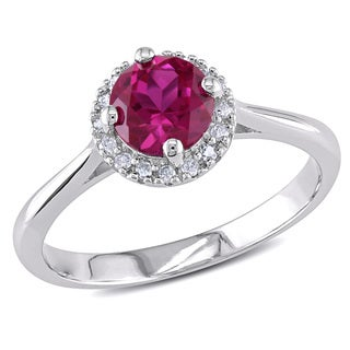 Miadora Sterling Silver Created Ruby and 1/10ct Diamond Ring (H-I, I2-I3)