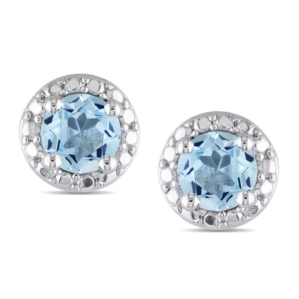 Miadora Sterling Silver 1ct TGW Blue Topaz Earrings