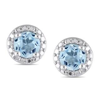 Miadora Sterling Silver 1ct TGW Blue Topaz Earrings