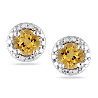 Miadora Sterling Silver Citrine Earrings