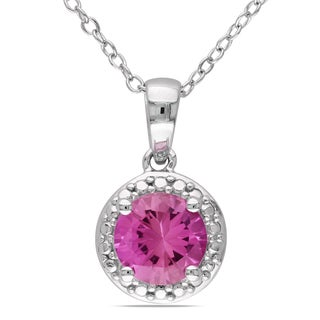 Miadora Sterling Silver Created Pink Sapphire Necklace