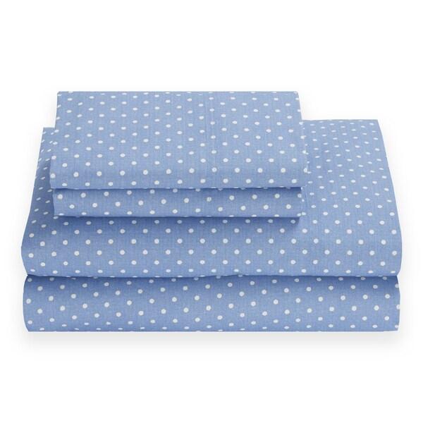 Tommy Hilfiger Chambray Dot Riviera Blue Sheet Set
