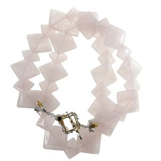 Michael Valitutti Square Rose Quartz Necklace