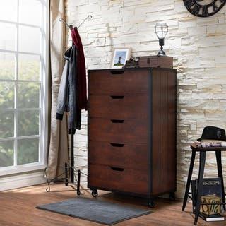 Furniture of America Aurville Vintage Walnut 5-Drawer Chest|https://ak1.ostkcdn.com/images/products/9679794/P16858921.jpg?impolicy=medium