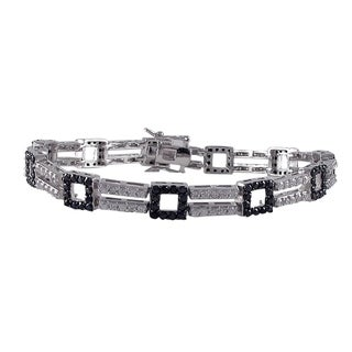 Luxiro Sterling Silver Cubic Zirconia Open Squares 2-row Tennis Bracelet