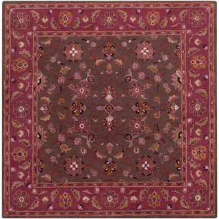 Hand-tufted Ricky Purple/Brown Wool Rug (9'9 Square)