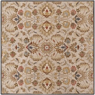 Hand-tufted Micah Beige/Green Wool Area Rug (9'9 Square)