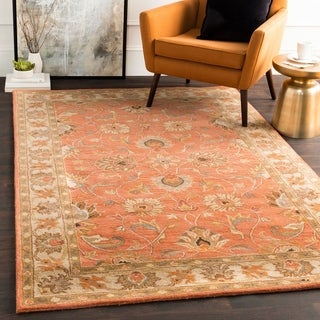 Hand-tufted Nia Traditional Wool Rug (10' x 14') (Option: Rust)