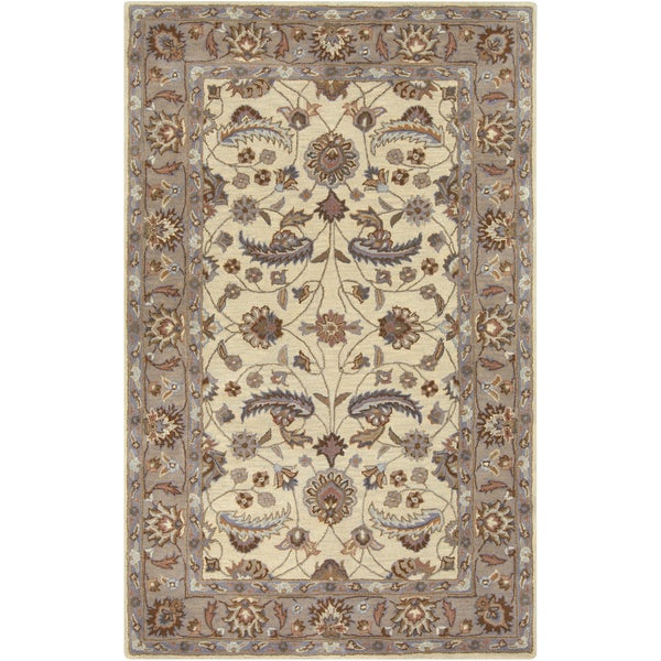 Hand-tufted Micah Beige/Green Wool Area Rug (9' x 12')