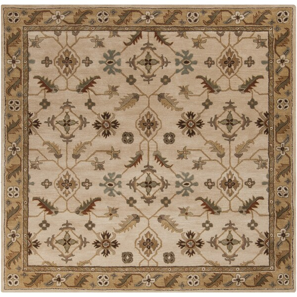 Hand-tufted Wendy Beige/Green Wool Rug (9'9 Square)