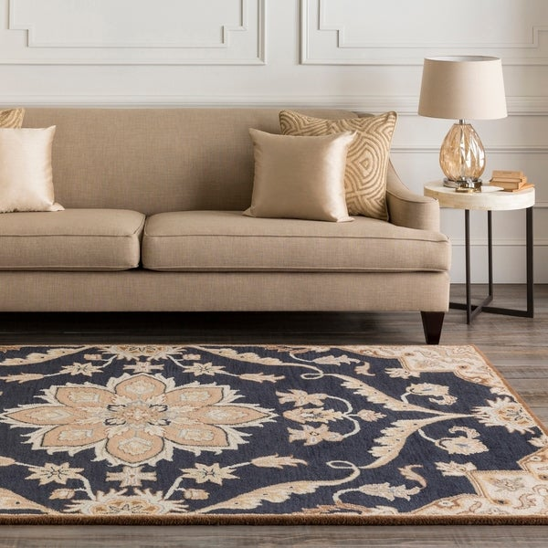 "Hand-tufted Robyn Navy/Brown Wool Area Rug - 9'9"" Square"