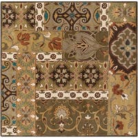 Hand-tufted Rocco Green/Taupe Wool Area Rug - 9'9