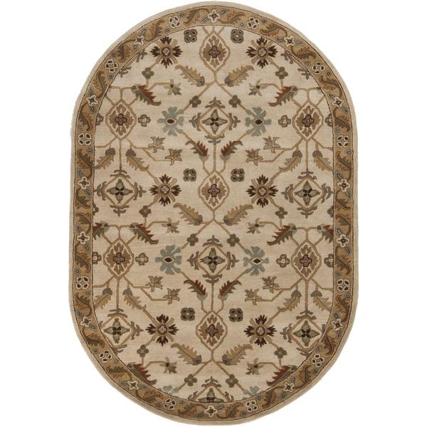 Copper Grove Kavir Hand-tufted Beige/Green Wool Area Rug (8' x 10' Oval)