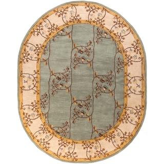 Hand-tufted Shari Green/Grey Wool Rug (8' x 10' Oval)