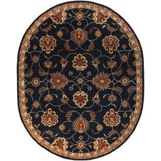 Hand-tufted Shelia Navy/Ivory Wool Area Rug - 8' x 10' Oval