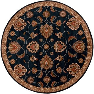 Hand-tufted Shelia Navy/Ivory Wool Rug (9'9 Round)