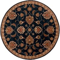 Hand-tufted Shelia Navy/Ivory Wool Area Rug (9'9 Round)