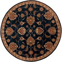 "Hand-tufted Shelia Navy/Ivory Wool Area Rug - 9'9"" Round"