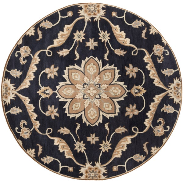 Hand-tufted Robyn Navy/Brown Wool Area Rug (9'9 Round)