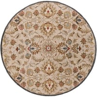 "Hand-tufted Micah Beige/Green Wool Area Rug - 9'9"" Round"