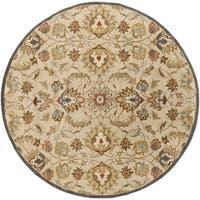 Hand-tufted Micah Beige/Green Wool Area Rug (6' Round)