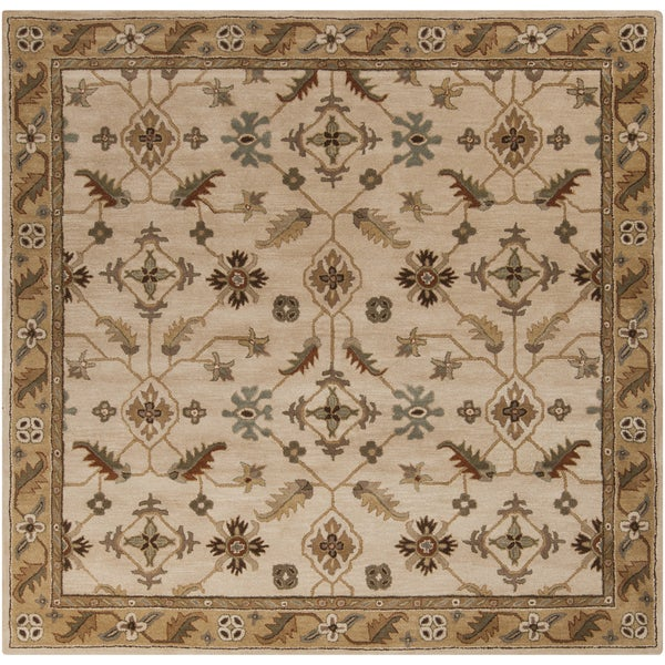 Copper Grove Kavir Hand-tufted Beige/Green Wool Area Rug (6' Square)