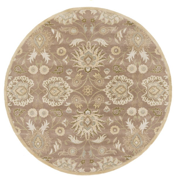 Hand Tufted Agra Red Gold Wool Rug 8 Round: Hand-tufted Noah Traditional Wool Rug (8' Round)