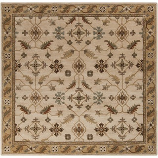 Hand-tufted Wendy Beige/Green Wool Rug (8' Square)
