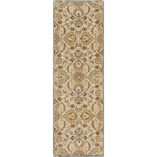 Hand-tufted Micah Beige/Green Wool Rug (3' x 12')