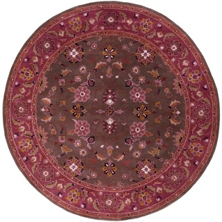 Hand-tufted Ricky Purple/Brown Wool Rug (4' Round)