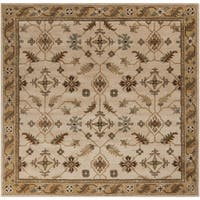 Copper Grove Kavir Hand-tufted Beige/Green Wool Area Rug - 4' Square