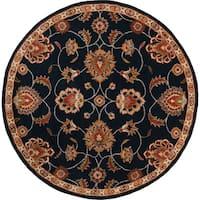 Hand-tufted Shelia Navy/Ivory Wool Area Rug (6' Round)