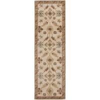 Copper Grove Kavir Hand-tufted Beige/Green Wool Runner Rug - 2'6 x 8'