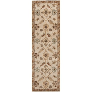Hand-tufted Wendy Beige/Green Wool Rug (3' x 12')