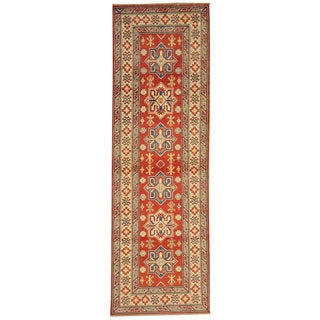 Tribal Design Kazak Wool Runner Rug (3' x 9')