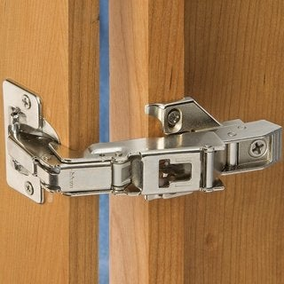 Pair of Blum 170-degree Clip Top Face Frame Screw-on Cabinet Hinge with Mounting Plate