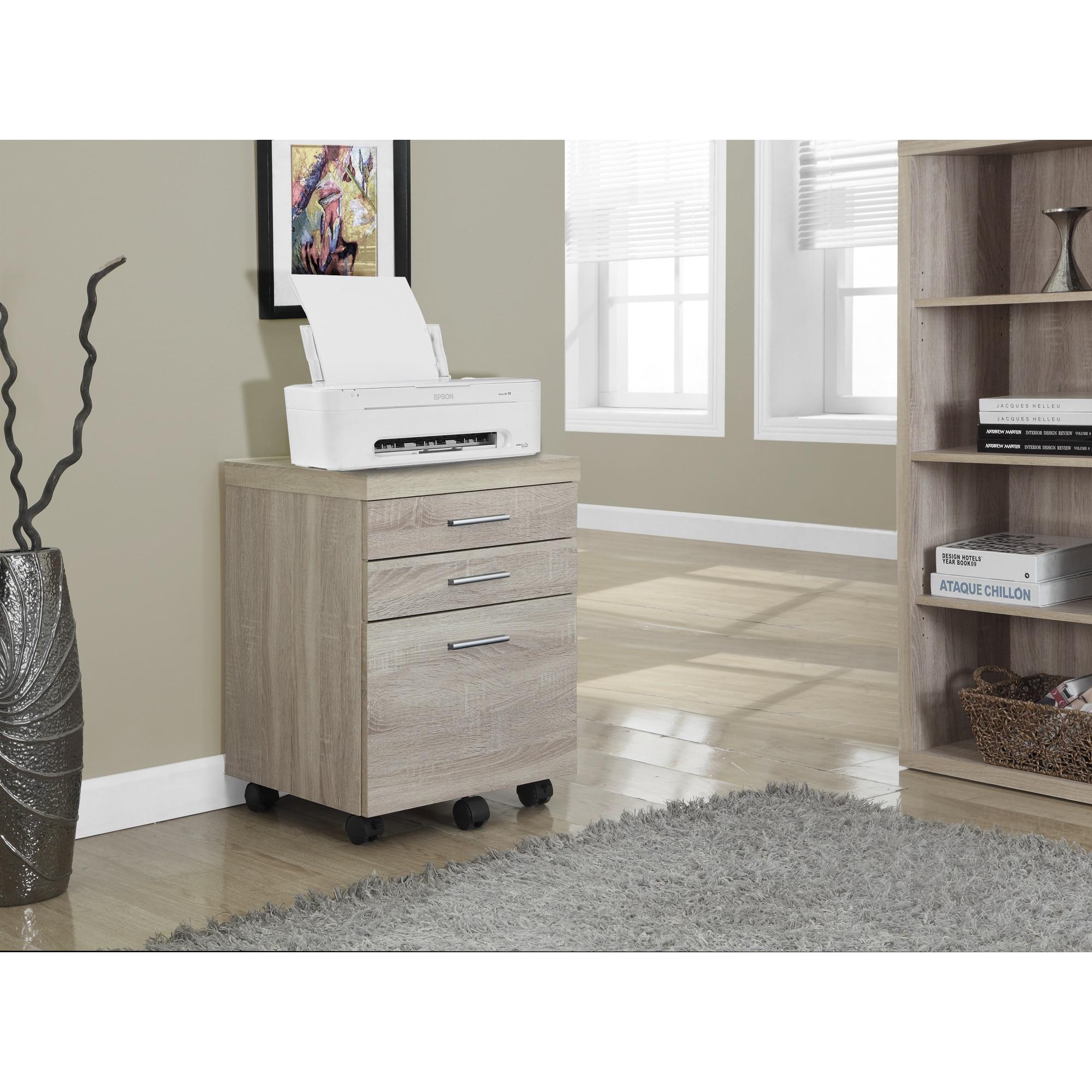 Havenside Home Bellport Natural 3-drawer Castor File Cabinet