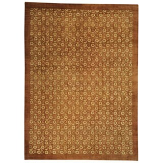 Hand-knotted Agra Flower Repetitive Design Oriental Area Rug (10' x 14')